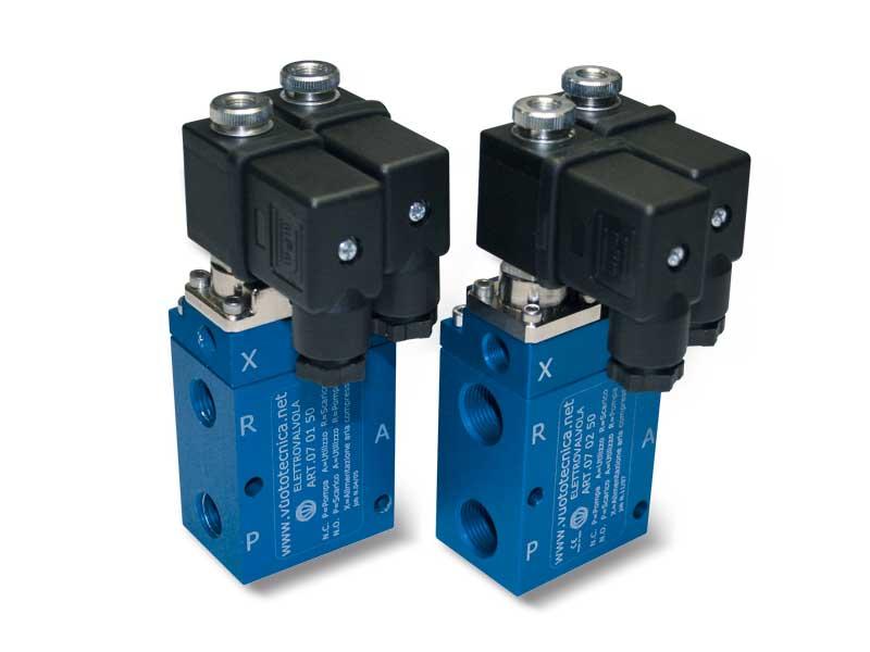 Electroválvulas de vacío de 3 vías servopilotadas, con dos bobinas eléctricas