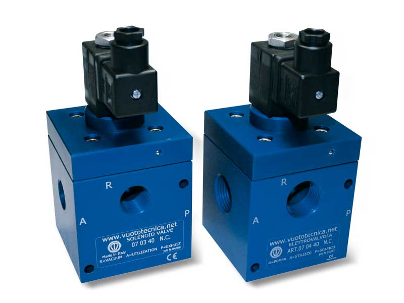 Electroválvulas de vacío de 3 vías, de mando directo