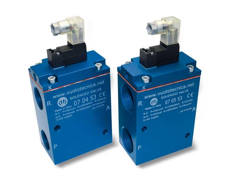 Electroválvulas de vacío de 3 vías, servopilotadas, con electropiloto de impulsos biestable y con bobina eléctrica de baja absorción