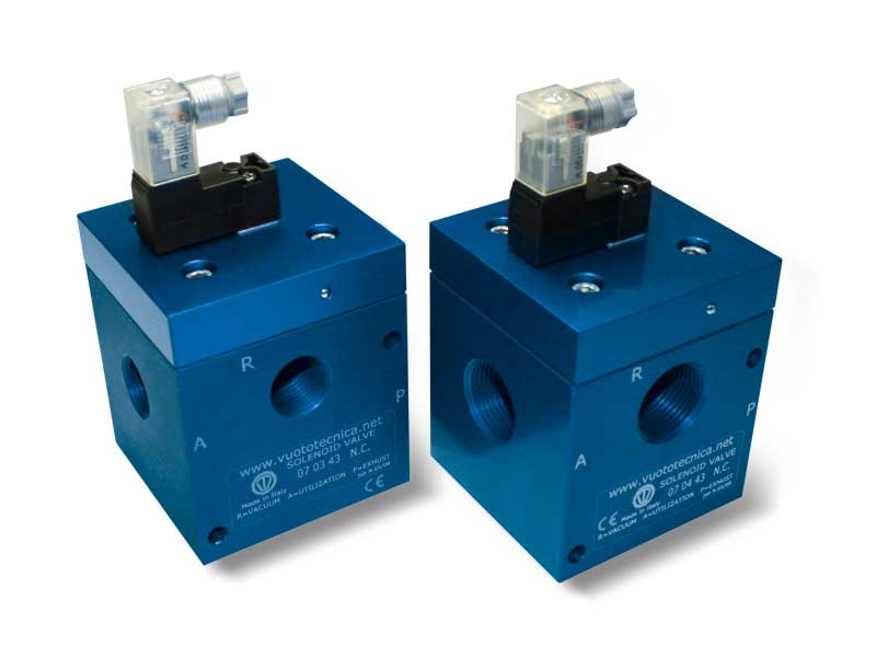 Electroválvulas de vacío de 3 vías, de mando directo, con bobina eléctrica de baja absorción