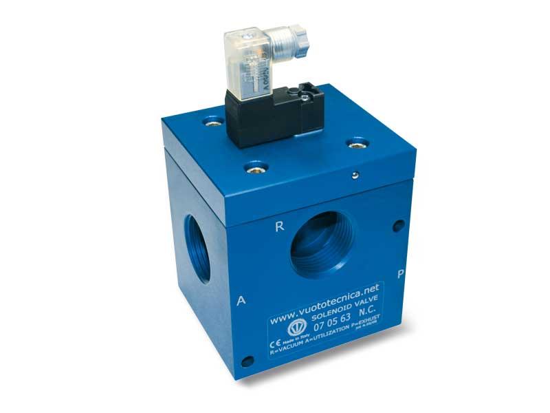 Electroválvulas de vacío de 3 vías, de mando directo, con electropiloto de impulsos biestable y con bobina eléctrica de baja absorción