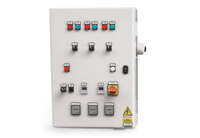Equipo eléctrico de mando para depresores de seguridad con tres bombas