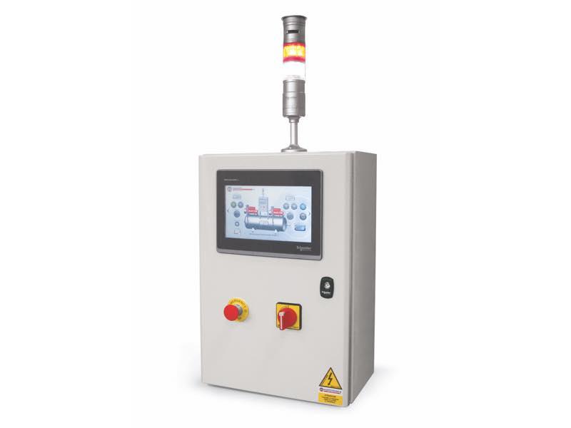 Equipos eléctricos de mando con panel operador con pantalla táctil y PLC para depresores y depresores de seguridad con dos o más bombas