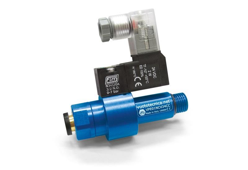 Accesorios para generadores de vacío de una etapa - Válvulas neumáticas con obturador coaxial