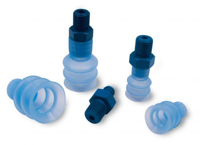 Ventosas de fuelle con sus respectivos soportes, para la sujeción de envases flow pack