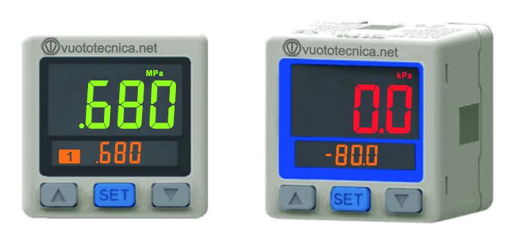 Vacuóstatos y presostatos digitales con pantalla de dos colores