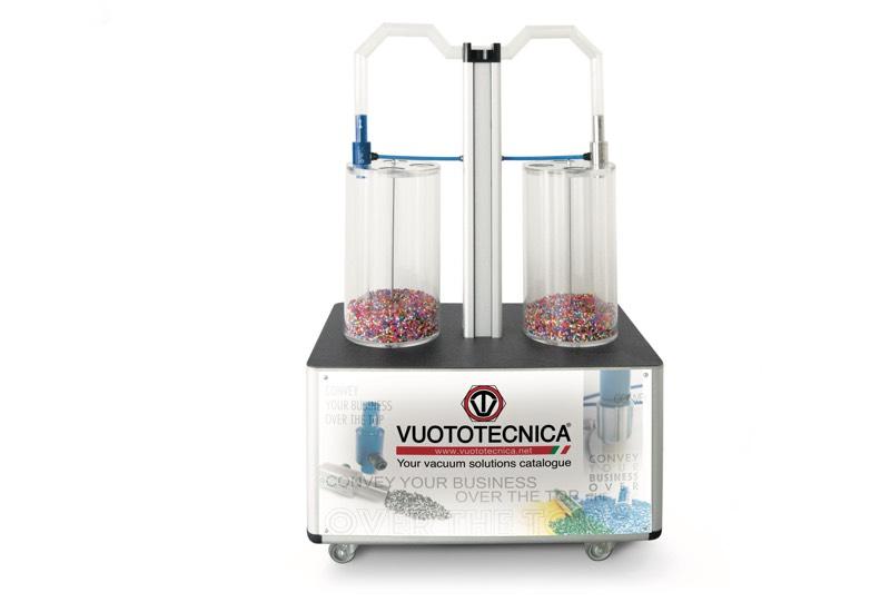 Muestrario y equipos para uso demostrativo - Unidad de demostración para la transferencia de polvos y granulados, con generadores de flujo CX - CONVY01