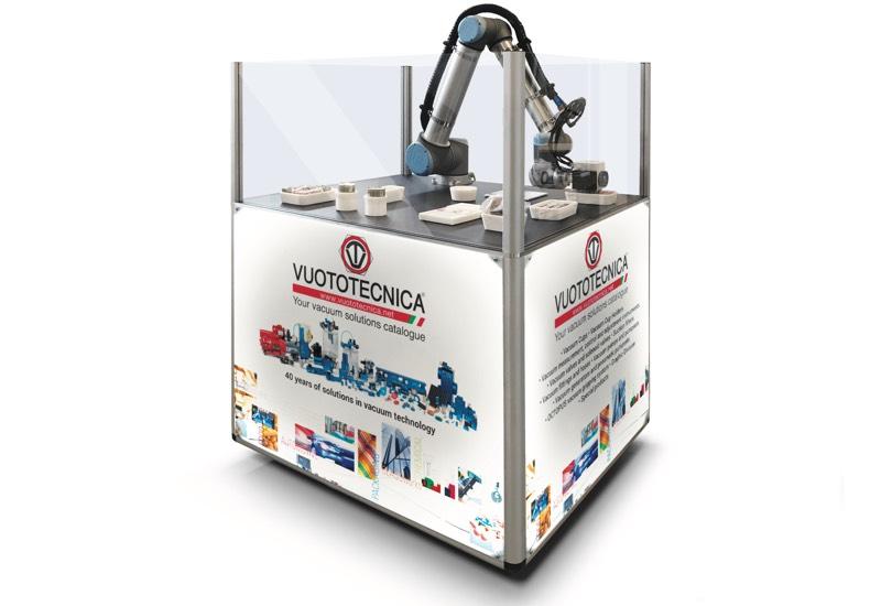 Muestrario y equipos para uso demostrativo - Robot equipado para la sujeción y la manipulación de objetos con ventosas y pinzas de vacío especiales - VACBOT
