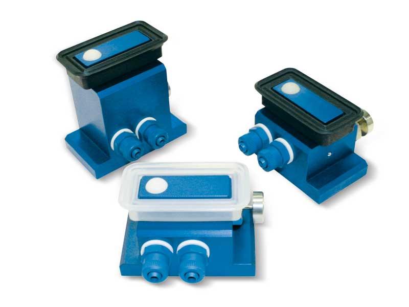 Ventosas rectangulares con obturador esférico, soporte autobloqueante y botón de desbloqueo